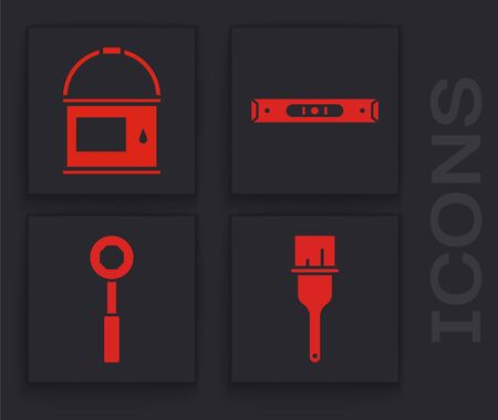 Set Paint brush, Paint bucket, Construction bubble level and Wrench spanner icon. Vector Stock Illustratie