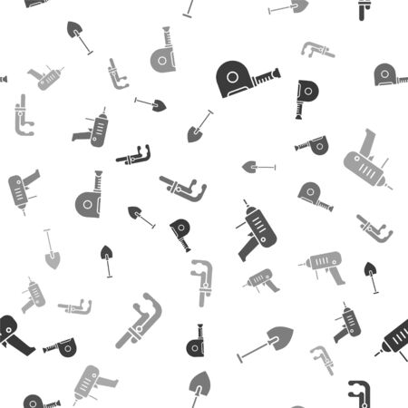 Set Roulette construction, Shovel, Electric drill machine and Clamp tool on seamless pattern. Vector