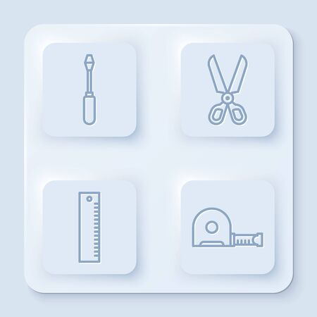 Set line Screwdriver, Scissors, Ruler and Roulette construction. White square button. Vector