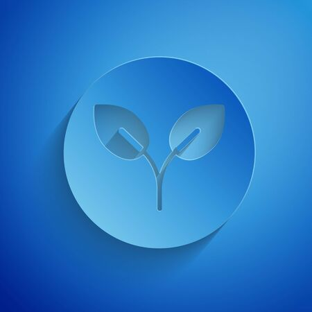 Paper cut Bio fuel icon isolated on blue background. Eco bio. Green environment and recycle. Paper art style. Vector Illustration Stock Illustratie