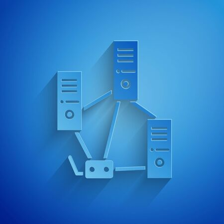 Paper cut Computer network icon isolated on blue background. Laptop network. Internet connection. Paper art style. Vector Illustration