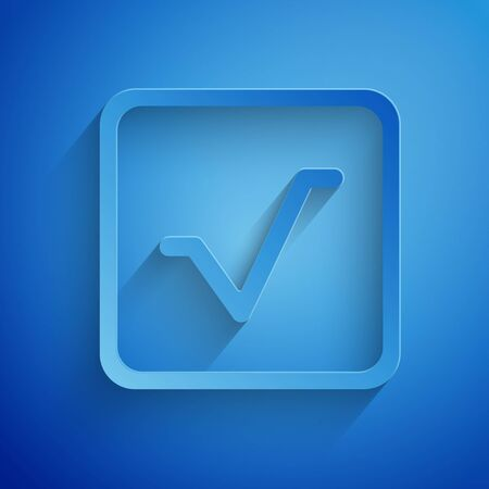 Paper cut Square root icon isolated on blue background. Paper art style. Vector Illustration