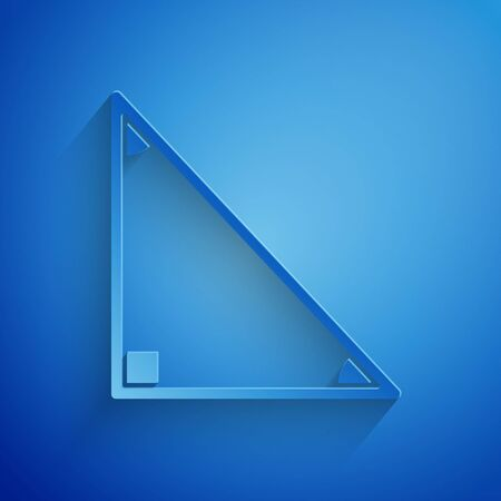 Paper cut Triangle math icon isolated on blue background. Paper art style. Vector Illustration Vettoriali