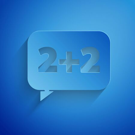 Paper cut Math system of equation solution on speech bubble icon isolated on blue background. Paper art style. Vector Illustration Vettoriali
