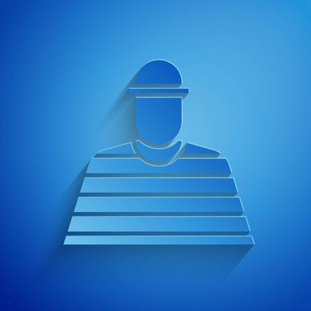 Paper cut Prisoner icon isolated on blue background. Paper art style. Vector Illustration Illustration