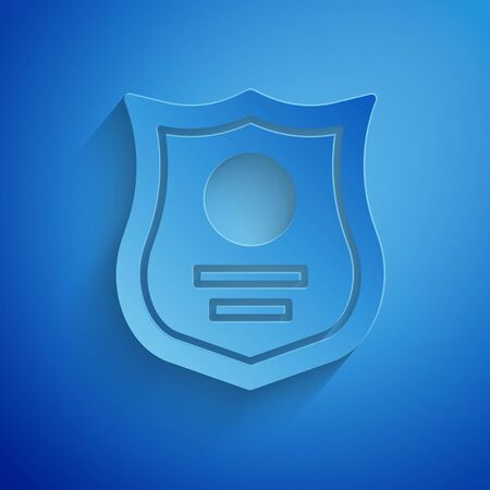 Paper cut Police badge icon isolated on blue background. Sheriff badge sign. Paper art style. Vector Illustration