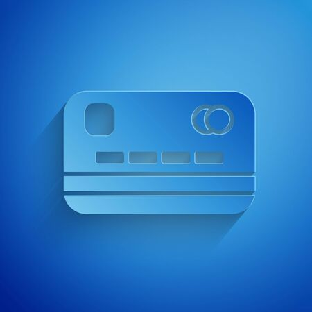 Paper cut Credit card icon isolated on blue background. Online payment. Cash withdrawal. Financial operations. Shopping sign. Paper art style. Vector Illustration