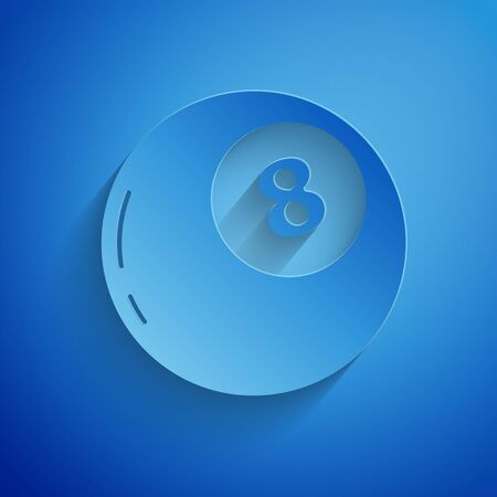 Paper cut Magic ball of predictions for decision-making icon isolated on blue background. Crystal ball. Paper art style. Vector Illustration