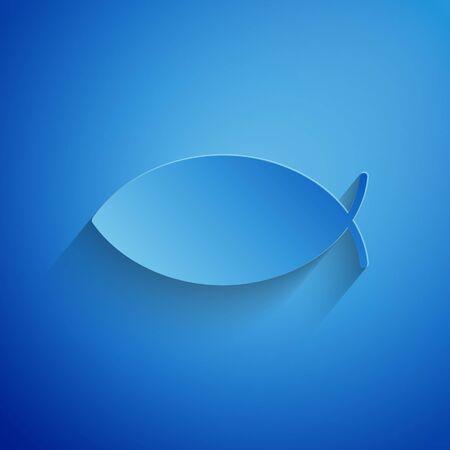 Paper cut Christian fish symbol icon isolated on blue background. Jesus fish symbol. Paper art style. Vector Illustration Illustration