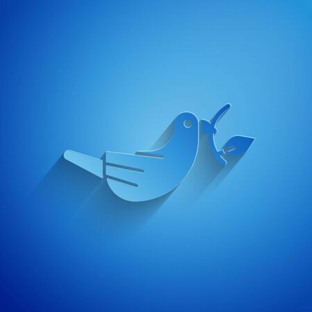 Paper cut Peace dove with olive branch icon isolated on blue background. Happy Easter. Paper art style. Vector Illustration