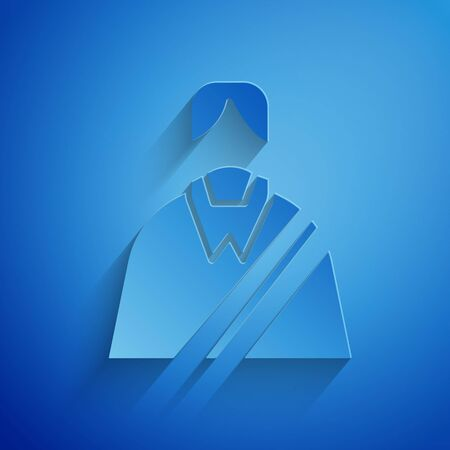 Paper cut Jesus Christ icon isolated on blue background. Paper art style. Vector Illustration Illustration