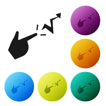 Black Spell icon isolated on white background. The sorcerer hand performing spells. Set icons in color circle buttons. Vector Illustration