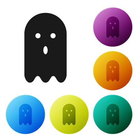 Black Ghost icon isolated on white background. Set icons in color circle buttons. Vector Illustration