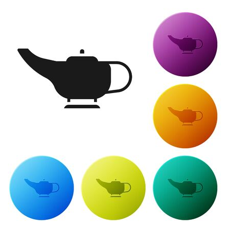 Black Magic lamp or Aladdin lamp icon isolated on white background. Spiritual lamp for wish. Set icons in color circle buttons. Vector Illustration