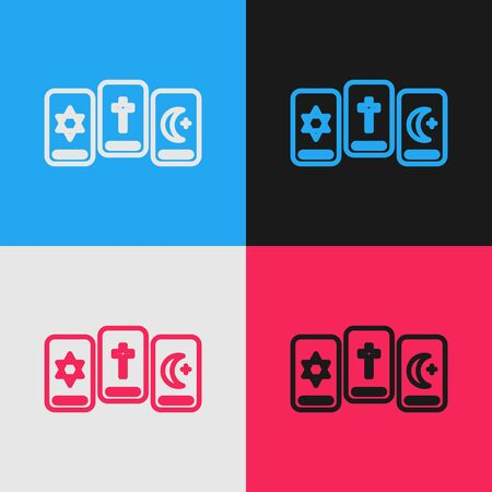 Pop art line Three tarot cards icon isolated on color background. Magic occult set of tarot cards.  Vector Illustration