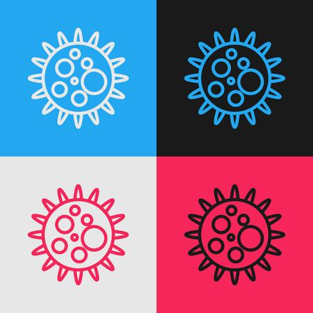 Pop art line Virus icon isolated on color background. Corona virus 2019-nCoV. Bacteria and germs, cell cancer, microbe, fungi. Vector Illustration