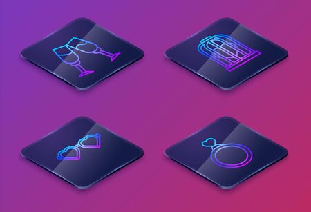 Set Isometric line Glass of champagne, Heart shaped love glasses, Heart in the bird cage and Wedding rings. Blue square button. Vector Illustration