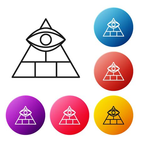 Black line Masons symbol All-seeing eye of God icon isolated on white background. The eye of Providence in the triangle. Set icons colorful circle buttons. Vector Illustration Ilustración de vector