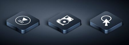 Set Isometric Rewind, Arrow cursor and Photo camera icon. Vector