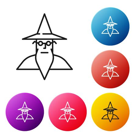 Black line Wizard warlock icon isolated on white background. Set icons colorful circle buttons. Vector Illustration