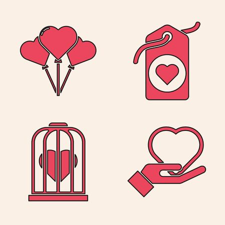 Set Heart on hand, Balloons in form of heart, Heart tag and Heart in the bird cage icon. Vector Иллюстрация