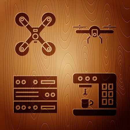 Set Coffee machine, Drone flying, Server, Data, Web Hosting and Drone flying on wooden background. Vector