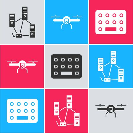 Set Computer network, Drone flying and Pills in blister pack icon. Vector