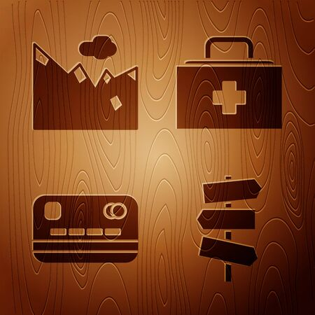 Set Road traffic signpost, Mountains, Credit card and First aid kit on wooden background. Vector Stock Illustratie