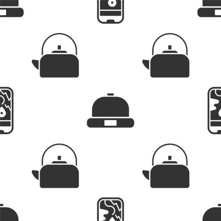 Set City map navigation, Beanie hat and Kettle with handle on seamless pattern. Vector