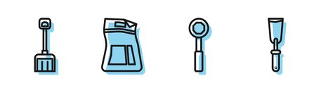 Set line Wrench spanner, Snow shovel, Cement bag and Putty knife icon. Vector