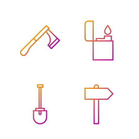 Set line Road traffic signpost, Shovel, Wooden axe and Lighter. Gradient color icons. Vector