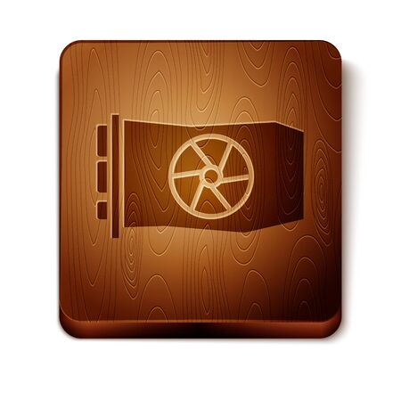 Brown Video graphic card icon isolated on white background. Wooden square button. Vector Illustration