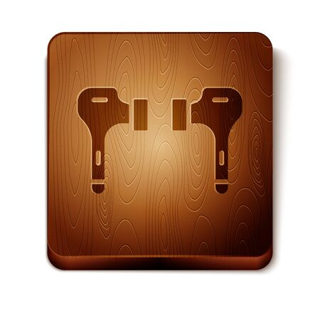 Brown Air headphones icon icon isolated on white background. Holder wireless in case earphones garniture electronic gadget. Wooden square button. Vector Illustration