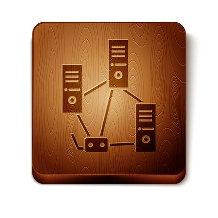 Brown Computer network icon isolated on white background. Laptop network. Internet connection. Wooden square button. Vector Illustration