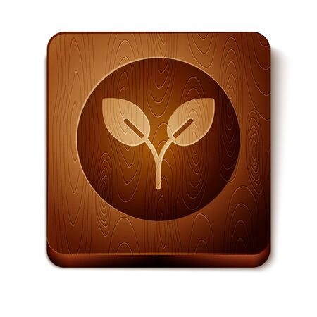 Brown Bio fuel icon isolated on white background. Eco bio. Green environment and recycle. Wooden square button. Vector Illustration