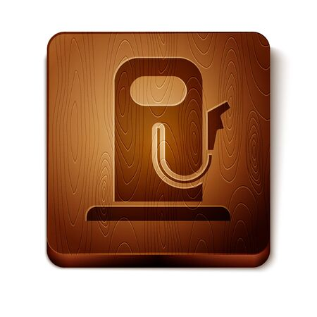 Brown Petrol or gas station icon isolated on white background. Car fuel symbol. Gasoline pump. Wooden square button. Vector Illustration