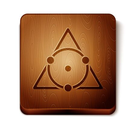 Brown Triangle math icon isolated on white background. Wooden square button. Vector Illustration