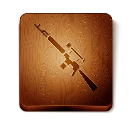 Brown Sniper rifle with scope icon isolated on white background. Wooden square button. Vector Illustration