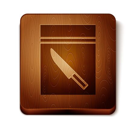 Brown Evidence bag and knife icon isolated on white background. Wooden square button. Vector Illustration