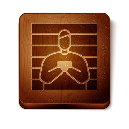 Brown Suspect criminal icon isolated on white background. The criminal in prison, suspected near the board. Wooden square button. Vector Illustration