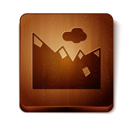 Brown Mountains icon isolated on white background. Symbol of victory or success concept. Wooden square button. Vector Illustration Ilustração