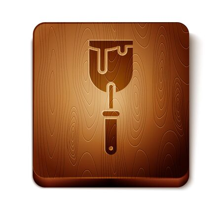 Brown Putty knife icon isolated on white background. Spatula repair tool. Spackling or paint instruments. Wooden square button. Vector Illustration Иллюстрация