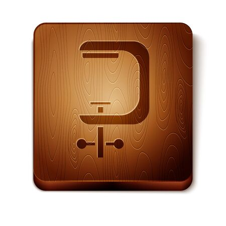 Brown Clamp and screw tool icon isolated on white background. Locksmith tool. Wooden square button. Vector Illustration Illustration