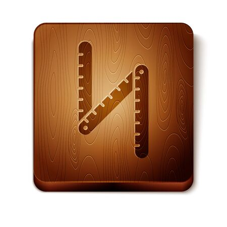 Brown Folding ruler icon isolated on white background. Wooden square button. Vector Illustration