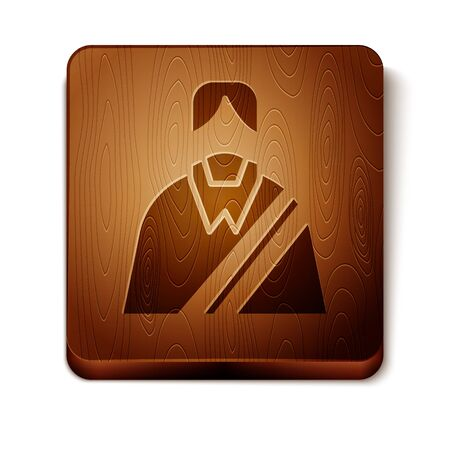 Brown Jesus Christ icon isolated on white background. Wooden square button. Vector Illustration