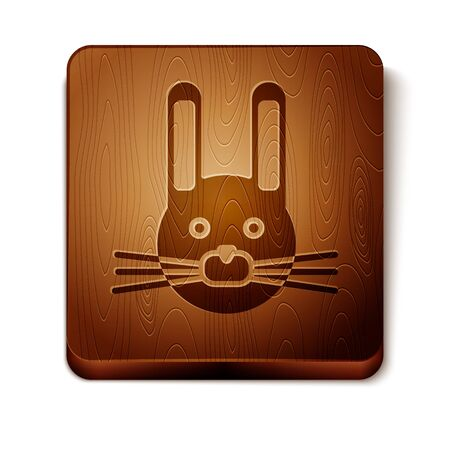 Brown Easter rabbit icon isolated on white background. Easter Bunny. Wooden square button. Vector Illustration Vector Illustratie