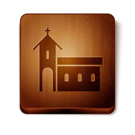 Brown Church building icon isolated on white background. Christian Church. Religion of church. Wooden square button. Vector Illustration