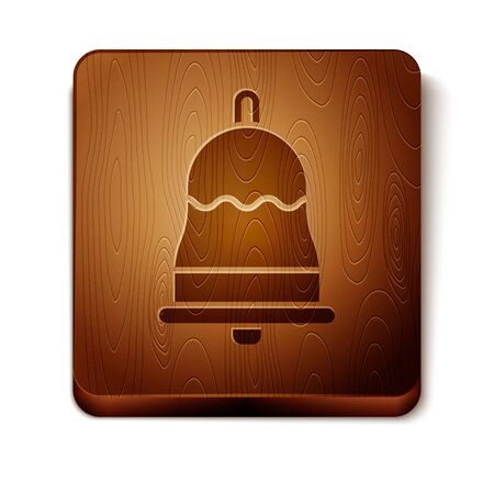 Brown Ringing bell icon isolated on white background. Alarm symbol, service bell, handbell sign, notification symbol. Wooden square button. Vector Illustration