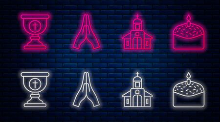 Set line Hands in praying position, Church building, Christian chalice and Easter cake and candle. Glowing neon icon on brick wall. Vector