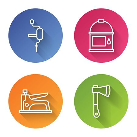 Set line Hand drill, Paint bucket, Construction stapler and Wooden axe. Color circle button. Vector